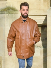 Higgs Leathers HALF PRICE SAVE £150!   Kurtas (mens Tan Leather long Blouson jacket